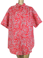80s Western Red Bandana Paisley Print Half Sleeve Collared Button Up Shirt