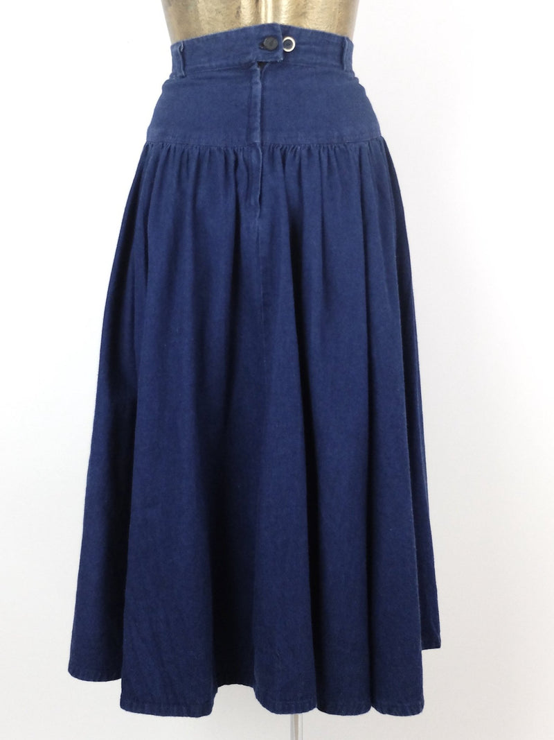 70s Western Calico High Waisted Dark Wash Blue Denim Jean Ruffled Midi Skirt