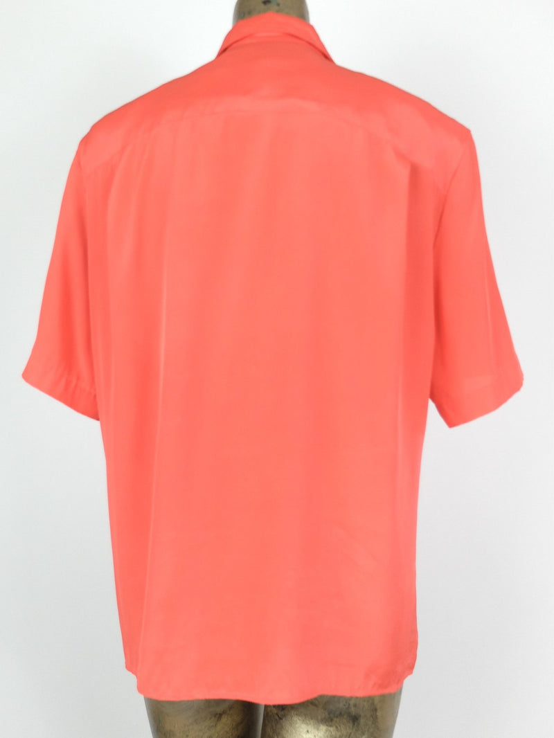 80s Basic Coral Silky Pleated Pointed Collar Short Sleeve Button Up Blouse with Padded Shoulders