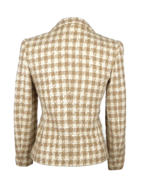 Vintage 80s Mod Betty Barclay Beige Houndstooth Fuzzy Wool Collared Button Down Blazer Jacket