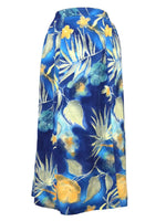 Vintage 80s High Waisted Navy Blue Tropical Hawaiian Floral Midi Skirt with Double Front Slits