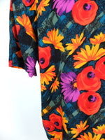 80s Bohemian Bright Floral Collared Short Sleeve Button Up Shirt