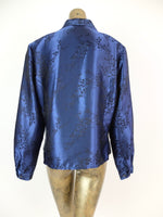 80s Floral Royal Blue Pointed Collar Silky Long Sleeve Button Up Blouse with Padded Shoulders