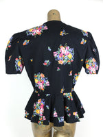 80s Romantic Floral Structured Peplum Button Up Half Sleeve Blouse with Shoulder Pads