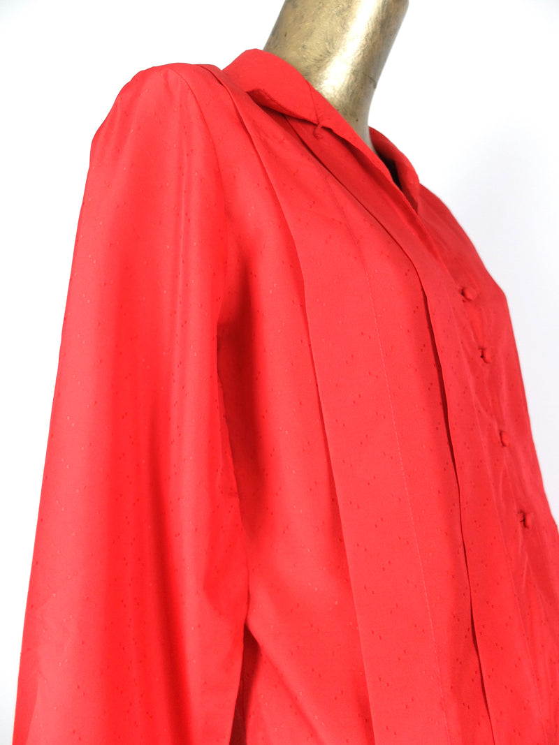70s Mod Coral Red Long Sleeve Collared Button Up Blouse