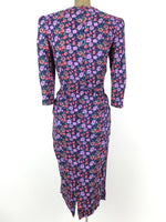 80s Floral Peplum Long Sleeve Midi Dress with Padded Shoulders