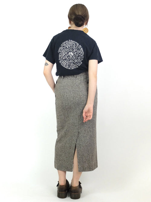 70s Wool High Waisted Grey Pencil Midi Skirt with Back Slit and Pockets