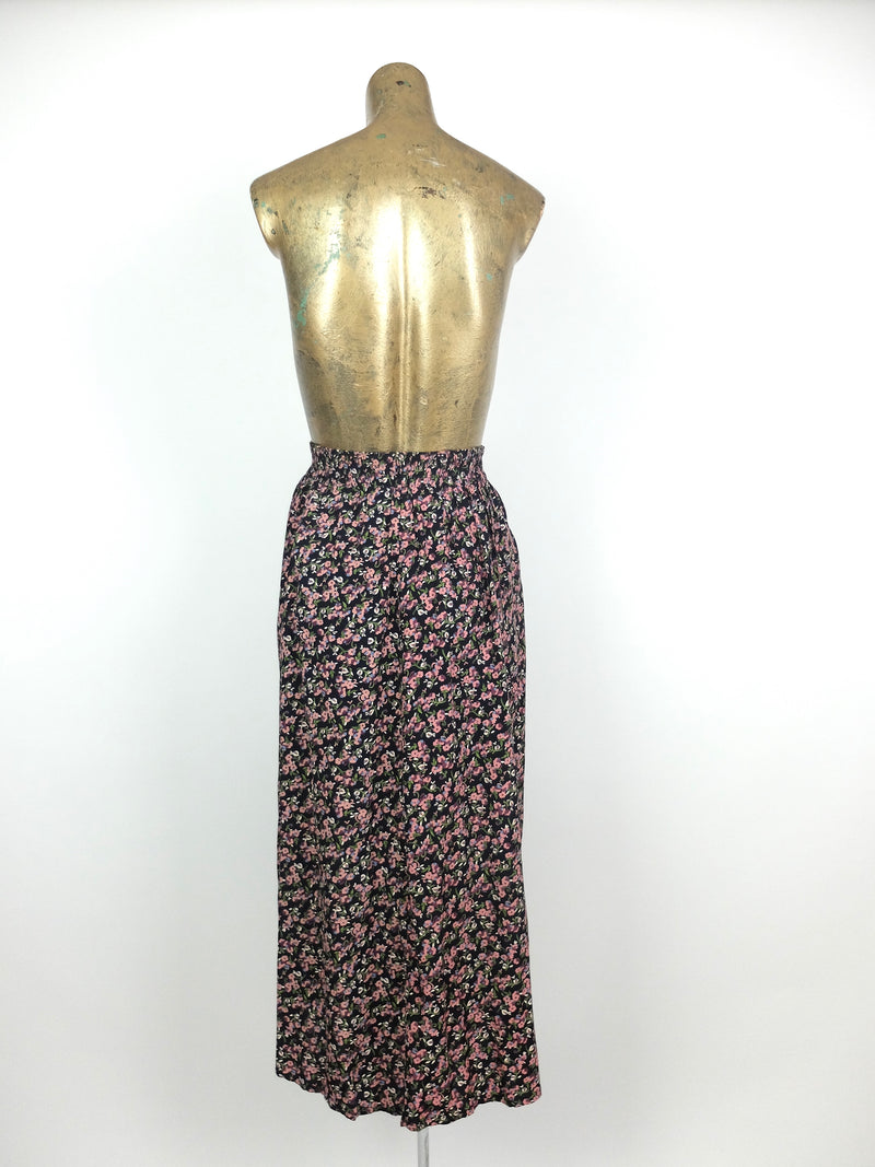 80s Bohemian Romantic Pink and Black Floral Print High Waisted Circle Maxi Skirt with Pockets