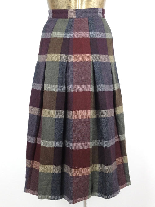 80s Wool Check Print High Waisted Pleated Fit and Flare Circle Midi Skirt