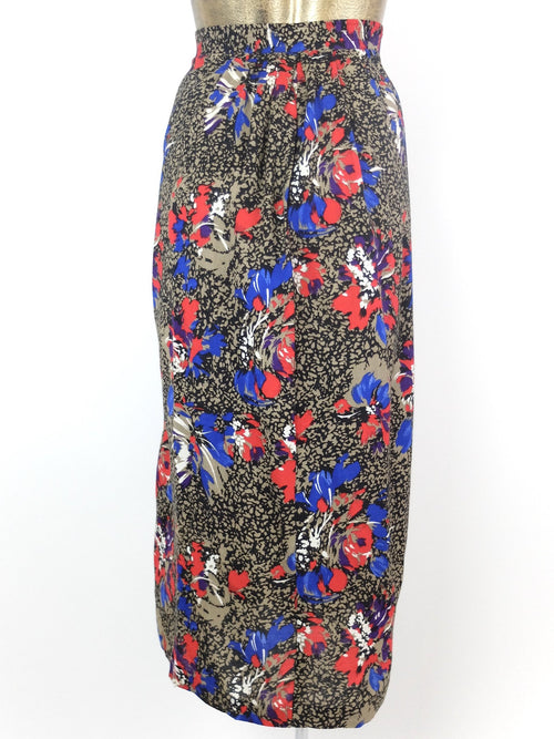 70s Abstract Floral High Waisted Full Circle Midi Skirt