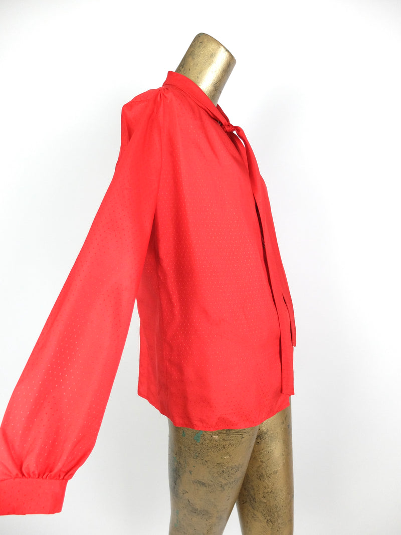70s Mod Pussy Bow Tie Mockneck Long Sleeve Button Up Blouse
