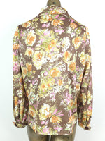 60s Mod Floral Print Rounded Collar Long Sleeve Front Pleated Button Up Shirt