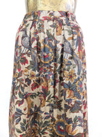 70s Flowers and Birds Print High Waisted Circle Maxi Skirt with Pockets