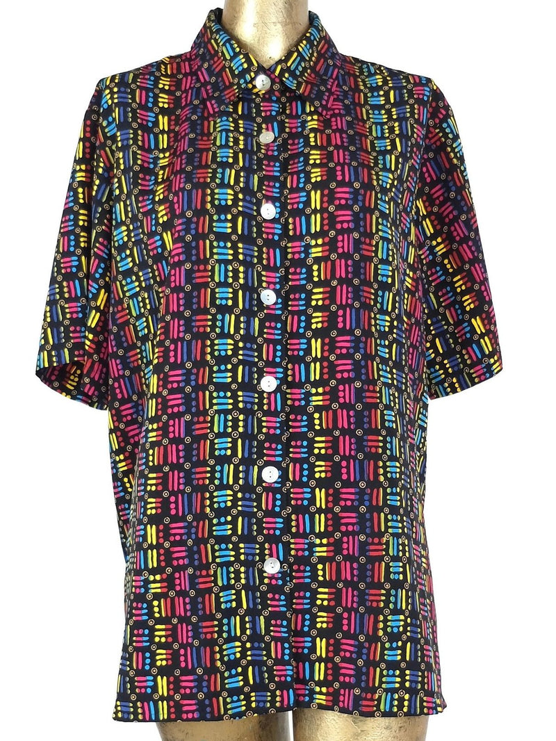 80s Black and Rainbow Collared Short Sleeve Button Up Shirt