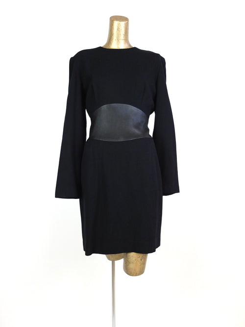 70s Mod Black Long Sleeve Wide Cinched Waist Above-the-Knee Mini Dress
