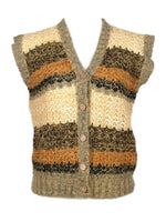 Vintage 70s Crocheted Knit Striped Sleeveless Button Down V-Neck Waistcoat Vest