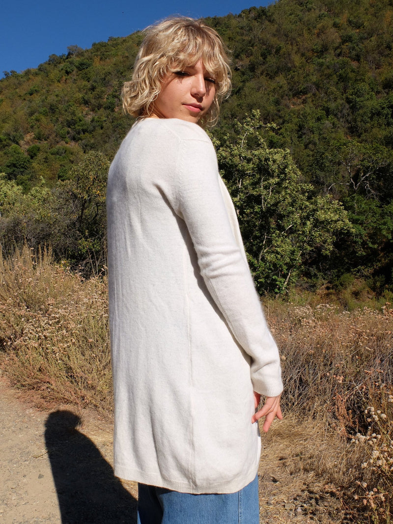60s Mod Cream Angora Wool Knit Long Button Down Cardigan Sweater