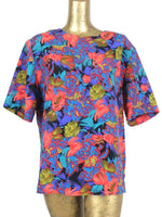 80s Bright Floral Abstract Pullover Half Sleeve Blouse