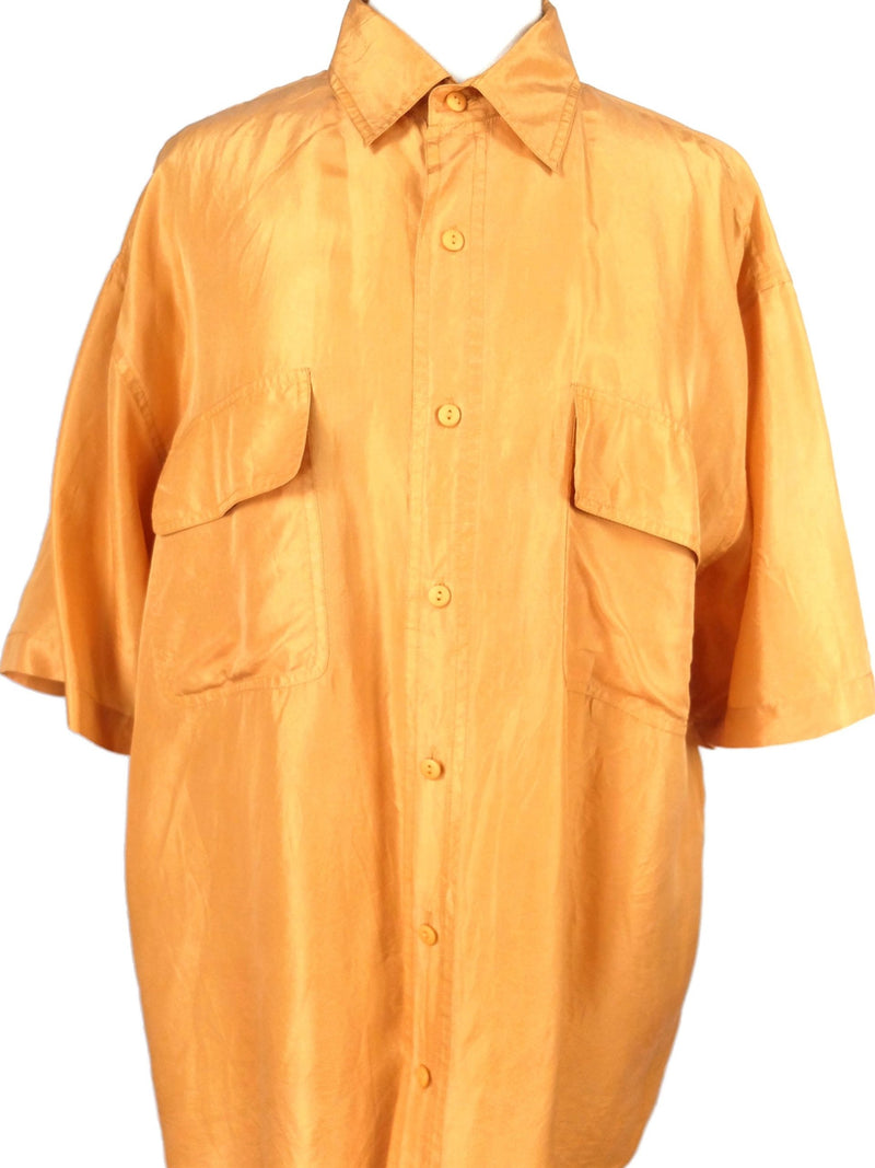 Vintage 70s Mens Silk Tangerine Orange Collared Half Sleeve Button Up Shirt with Utilitarian Pockets