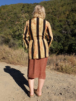 70s Mod Psychedelic Striped Geometric Patterned 3/4 Sleeve Button Up Tunic Blouse with Vest