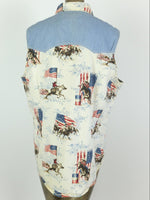 90s USA Western Rodeo Denim Sleeveless Button Up Collared Tank Top