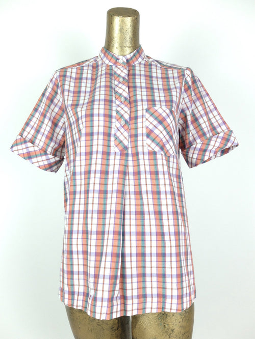 70s Check Print Mockneck Half Sleeve 1/4 Button Up Tunic Shirt
