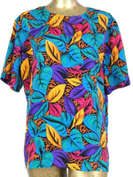 80s Abstract Floral Leaves Scoop Neck Short Sleeve Shirt