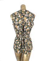 80s Bohemian Romantic Floral Sleeveless V-Neck Button Down Vest Blouse with Bow Tie