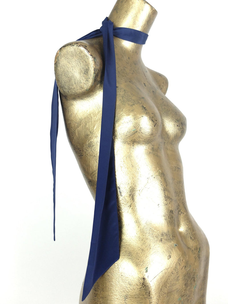 70s Mod Navy Blue Thin Long Versatile Neck and Hair Scarf Tie