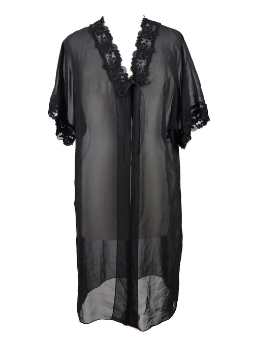Vintage 70s Black Lace Trim Chiffon Half Sleeve Flowy Sheer Kimono Style Nightgown Dress