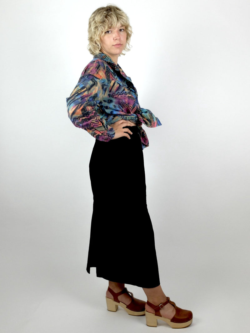 90s Y2K Psychedelic Rainbow Abstract Soft Faux Suede Long Sleeve Collared Button Up Shirt