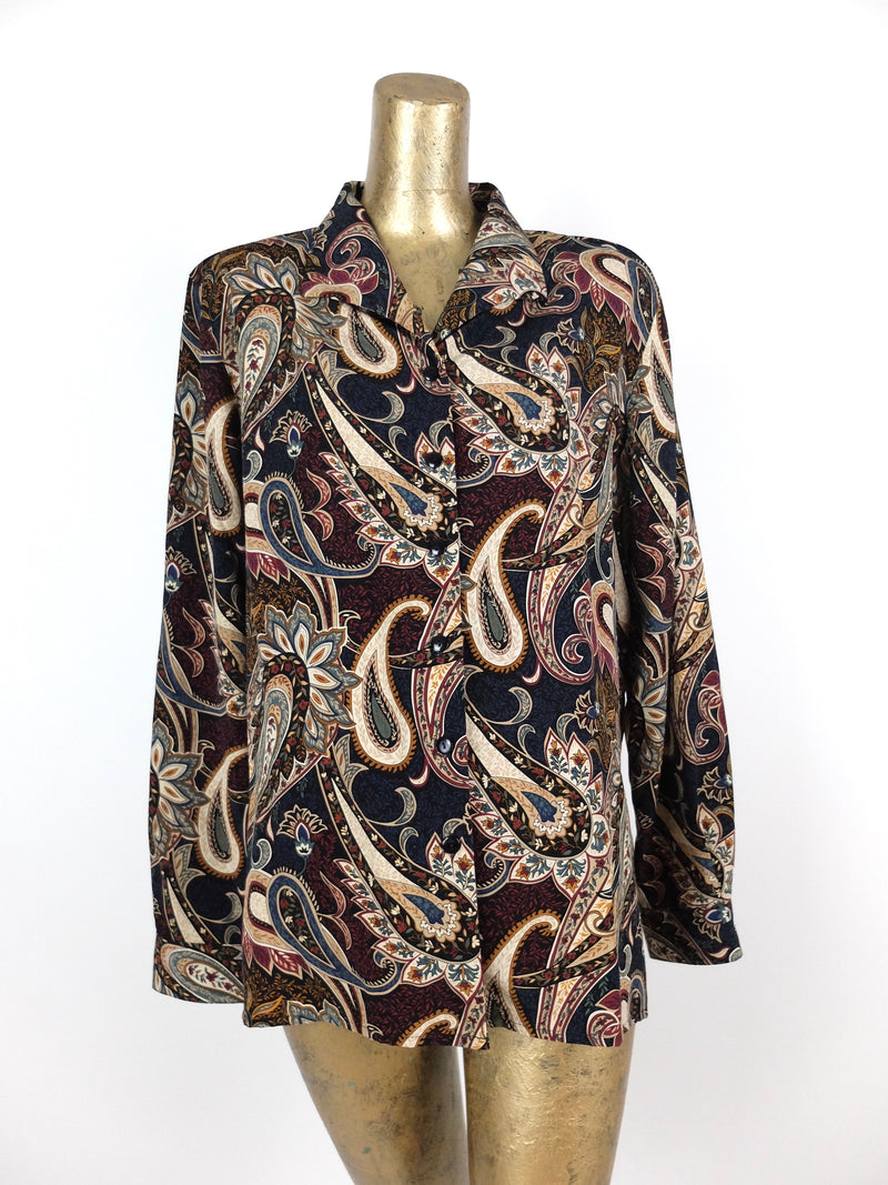 80s Paisley Psychedelic Abstract Button Up Collared Long Sleeve Blouse