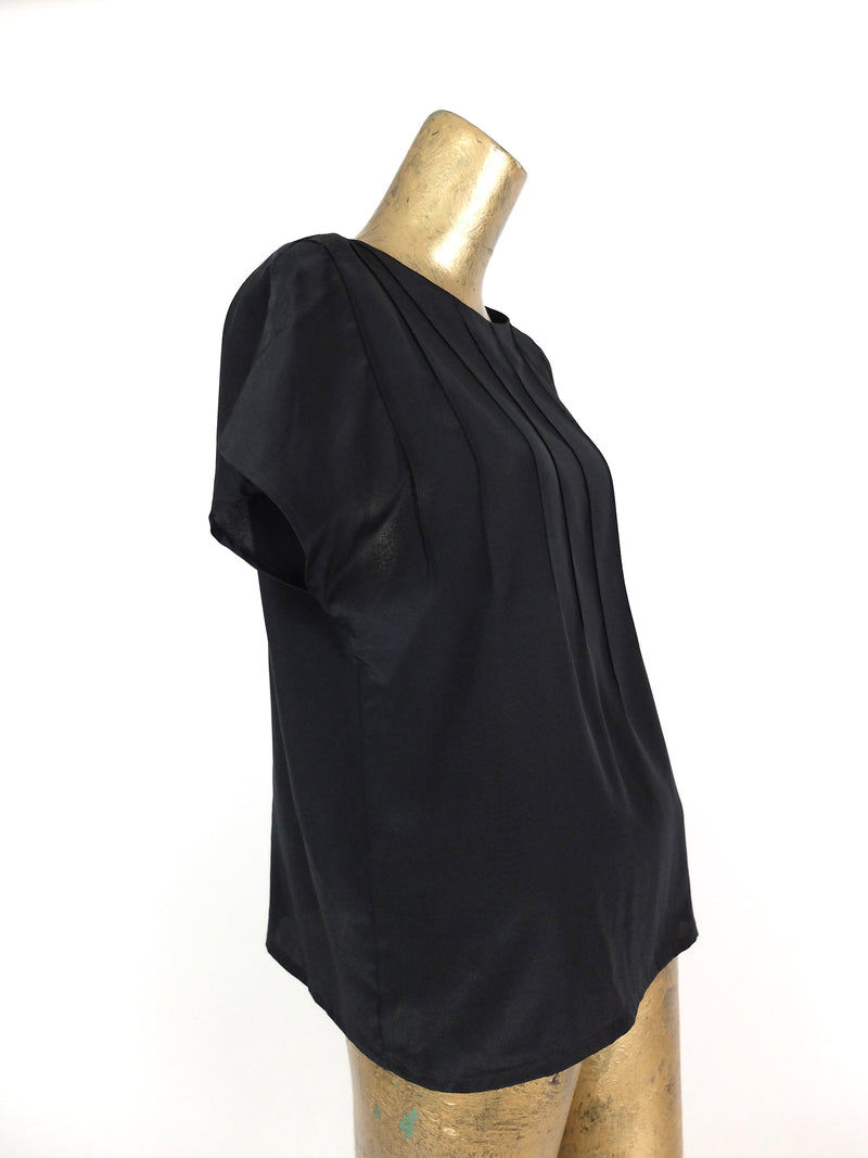 80s Black Boxy Short Sleeve Pullover Blouse