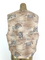80s Safari Zebra Animal Print Sleeveless Waistcoat Vest