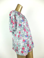 80s Floral Roses Pleated Half Sleeve Scoop Neck Blouse