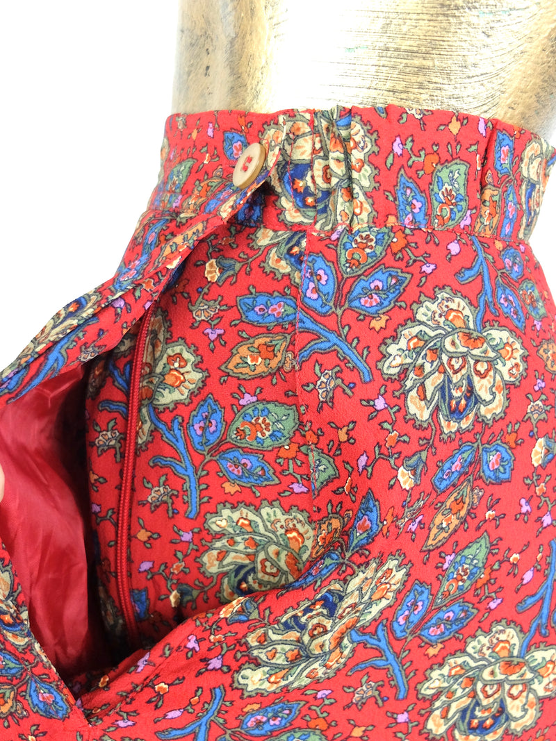 90s Bohemian Red Floral High Waisted Circle Maxi Skirt
