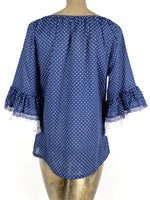 70s Milkmaid Hippie Style Ruffled Polka Dot 3/4 Lace Sleeve Scoop Neck Blouse