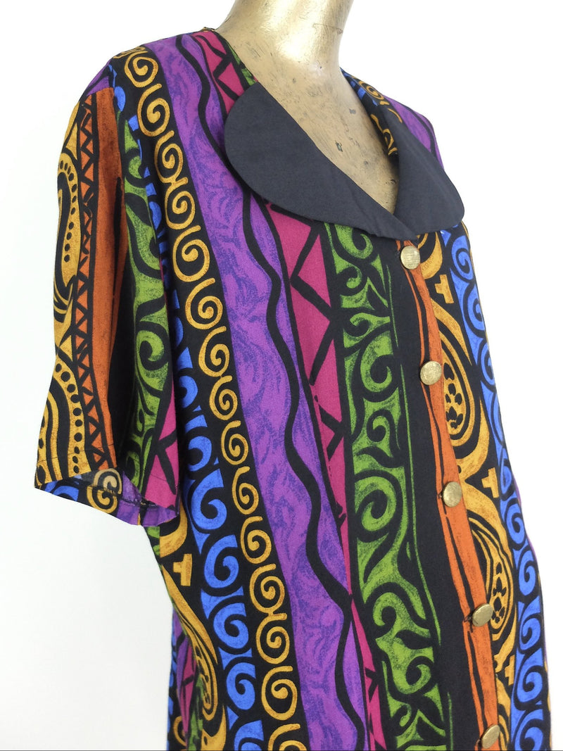80s Paisley Baroque Striped Abstract Print Colorful Collared Half Sleeve Button Up Blouse