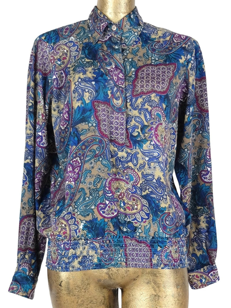 80s Psychedelic Abstract Paisley Print Long Sleeve Collared Button Up Blouse with Padded Shoulders and Elasticated Waist