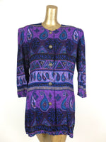 80s Bright Purple Abstract Paisley Print 3/4 Sleeve Button Up Blouse
