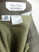 80s Max Mara Olive Green High Waisted Pencil Midi Skirt