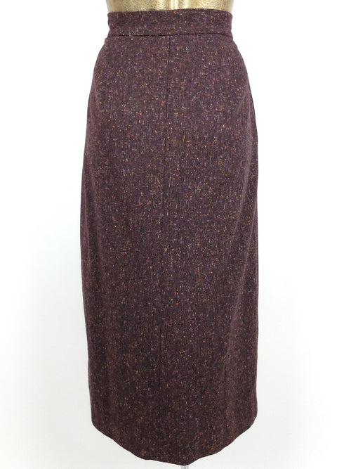 80s Mod Style High Waisted Dark Purple Winter A-Line Pencil Maxi Skirt with Pockets