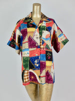 70s Abstract Patchwork Print Short Sleeve Collared Button Up Shirt