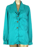 Vintage 80s Silky Turquoise Collared Long Sleeve Button Up Blouse