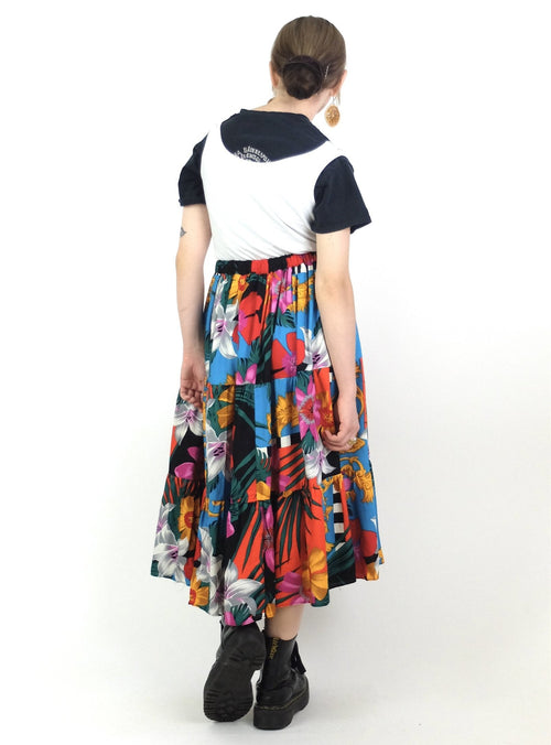 70s Psychedelic Tropical Floral and Baroque High Waisted Floral Ruffled Full Circle Midi Skirt