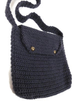 Vintage 80s Navy Blue Crocheted Fuzzy Crossbody Messenger Bag Purse