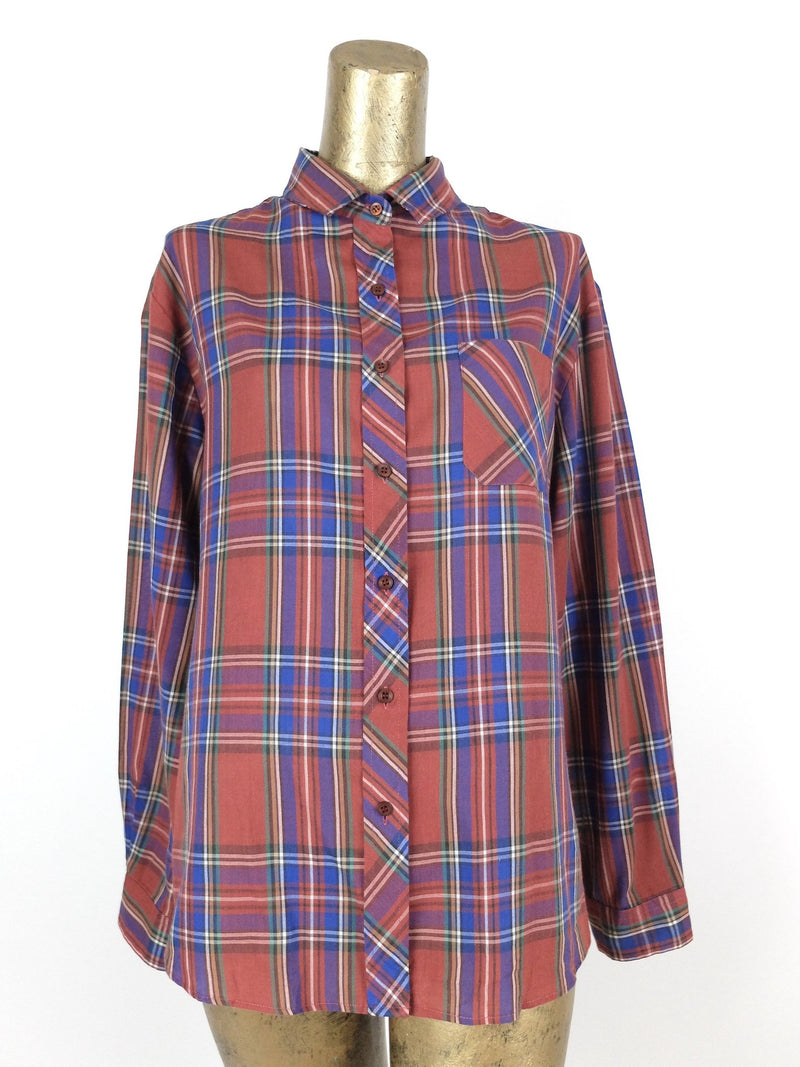 80s Western Red and Blue Check Print Long Sleeve Collared Button Up Shirt