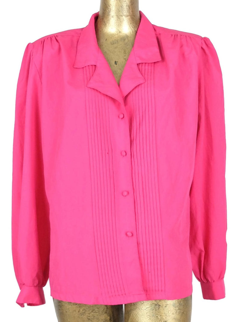 80s Hot Pink Silky Pleated Long Sleeve Collared Button Up Blouse
