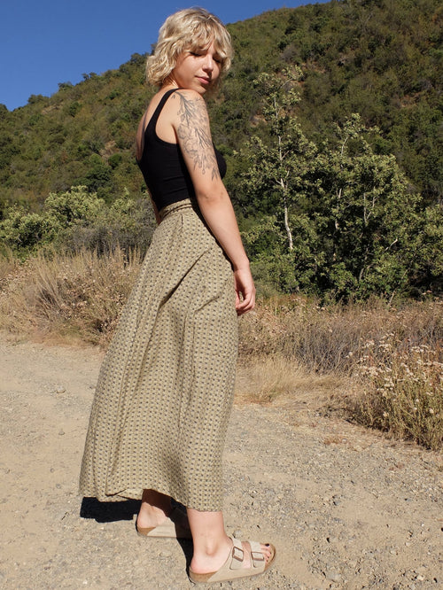 80s Bohemian High Waisted Abstract Print Circle Maxi Skirt