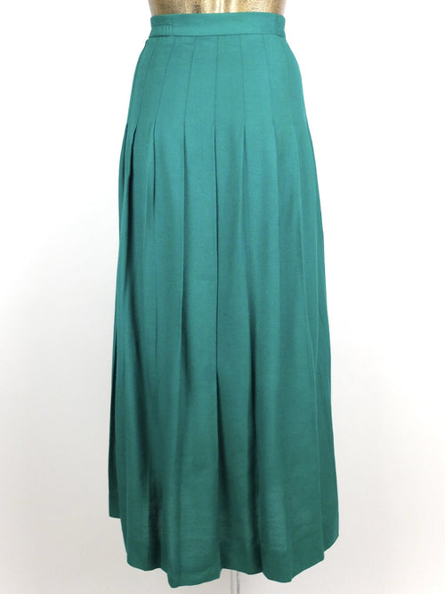 80s Mod Style Teal Basic High Waisted Pleated Maxi Skirt